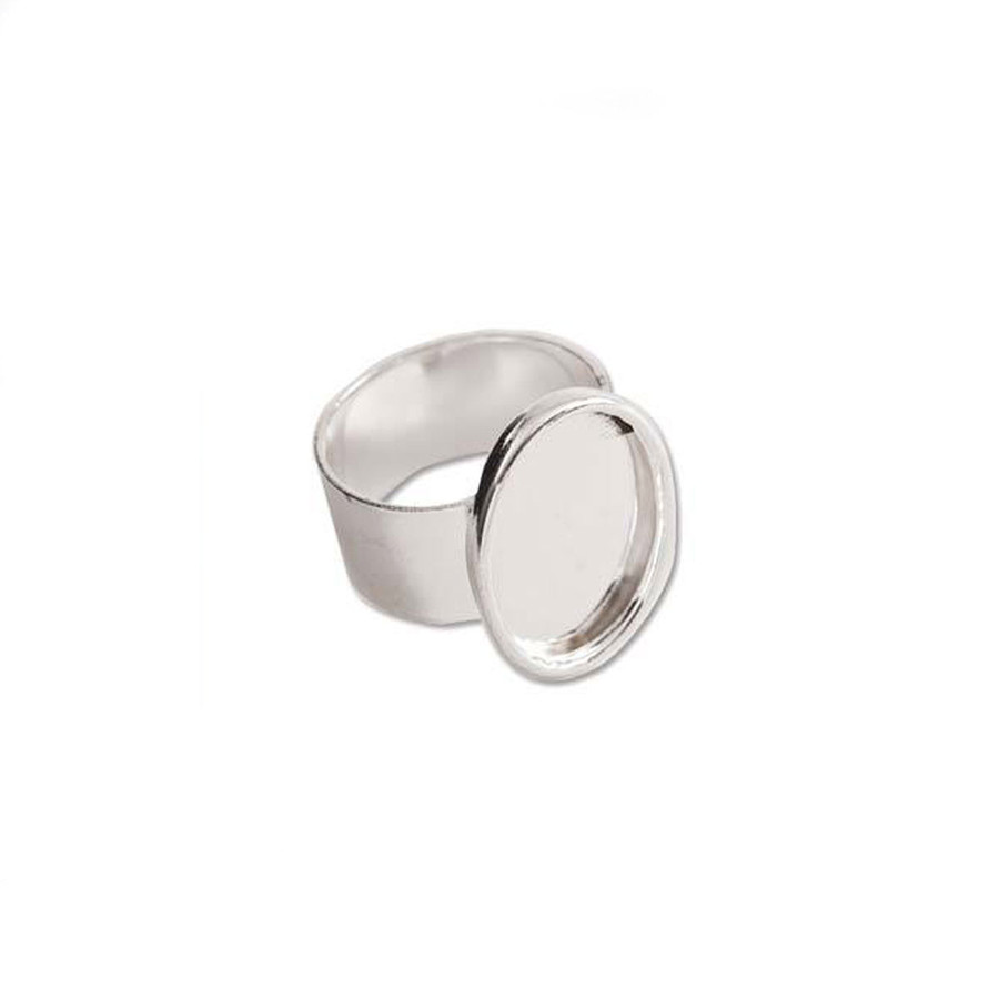 Bezel Ring With Adjustable Band - Oval Bright Silver - 13x18mm