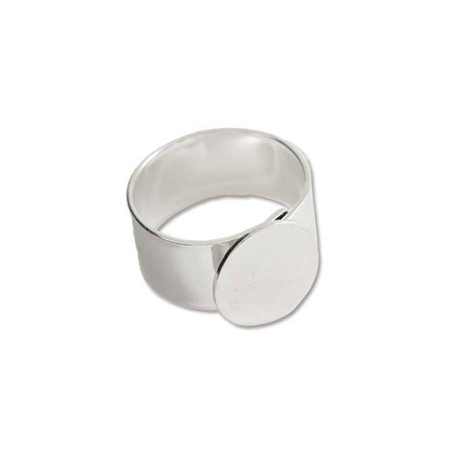 Ring With Mount and Adjustable Band - Bright Silver - 13mm