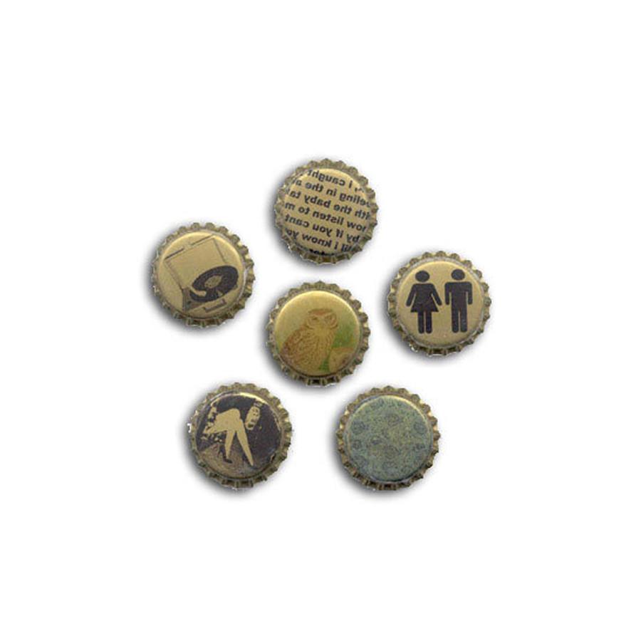 Blank Bottle Caps - Gold Metallic - 5 pk