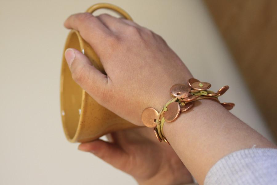 Art Clay Copper Coin silk wrap bracelet by Petra Cameron - 2010