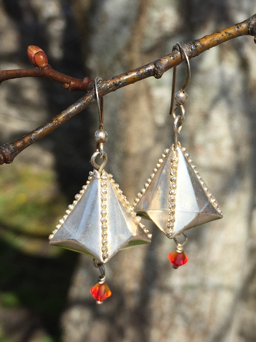Chinese Lantern Earrings from Art Clay Paper Type Silver by Petra Cameron, 2008. Using traditional Origami techniques you can create incredibly strong designs from this very delicate Paper Type product.