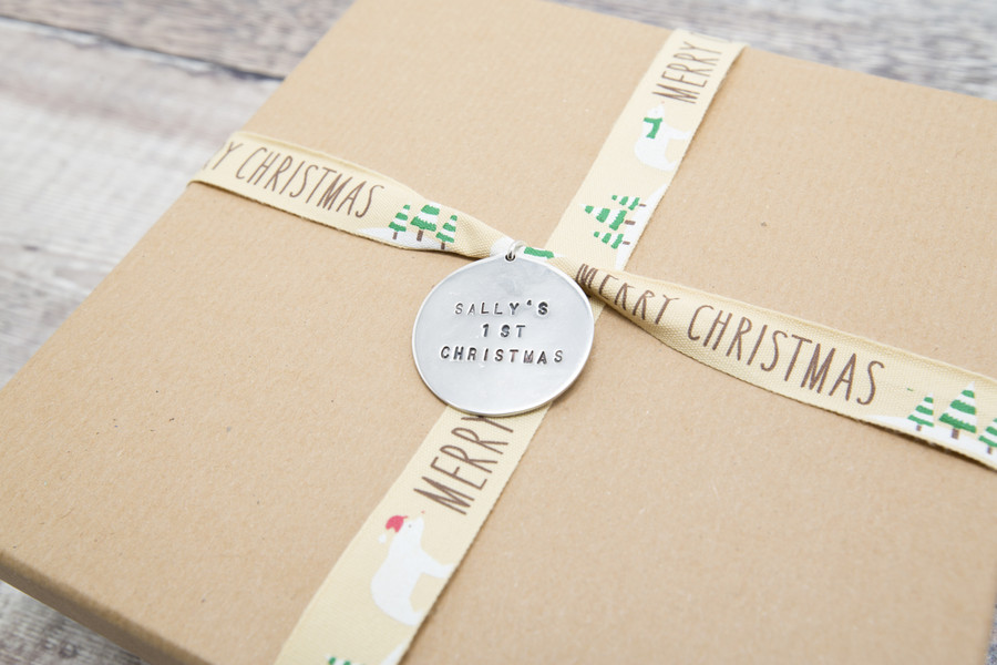 Alphabet and number stamp kit used to make a very special gift tag.