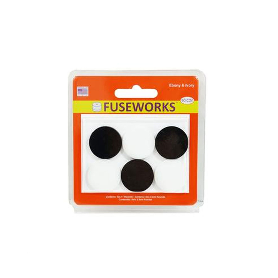 Fuseworks Fusible Shapes 6 Ebony & Ivory Circles - 25mm