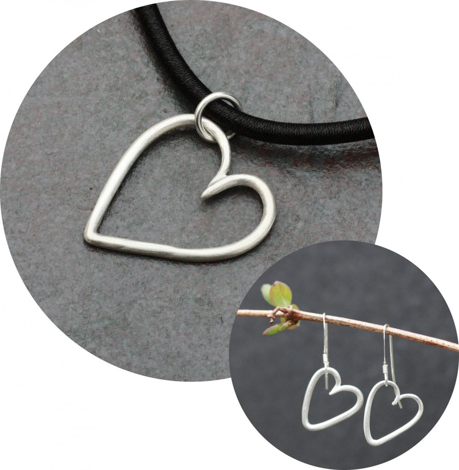 Heart pendant & heat earrings