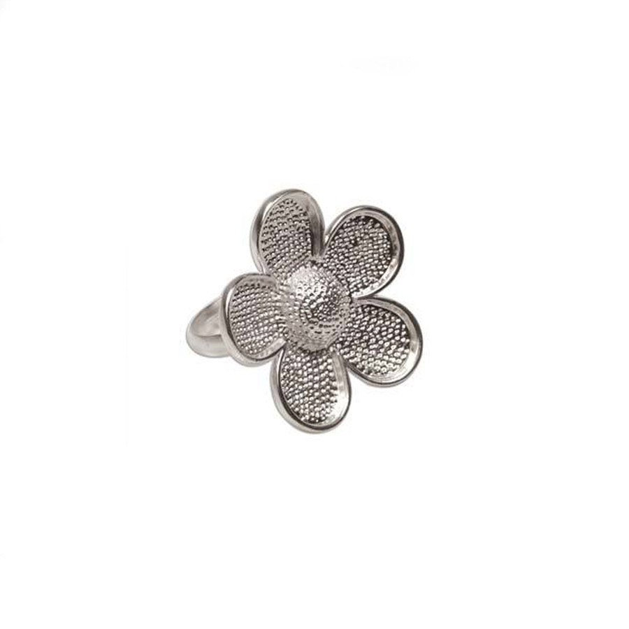 Bezel Ring With Adjustable Band - Flower Bright Silver - 3cm