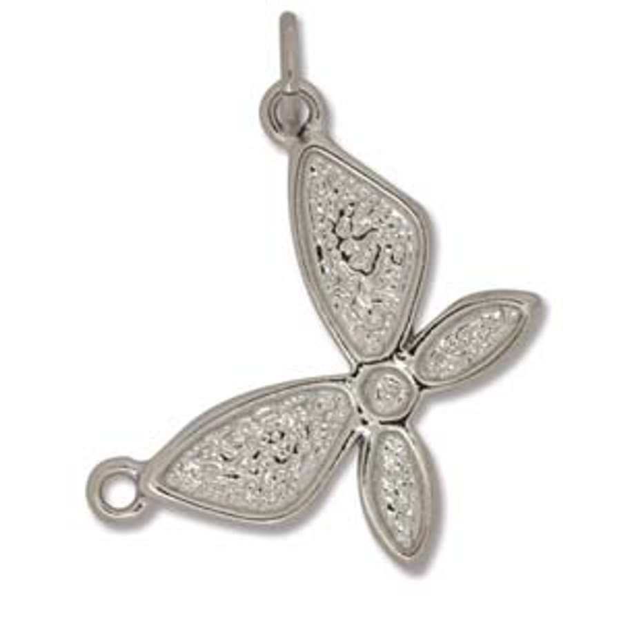 Butterfly Connector Bezel - Bright Silver - 2x2.5cm