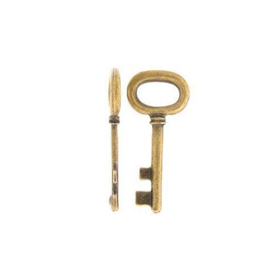 Key Charm - Antique Brass - 42 x 18mm