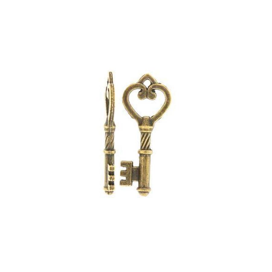 Filigree Key Charm - Antique Brass - 46 x 18mm