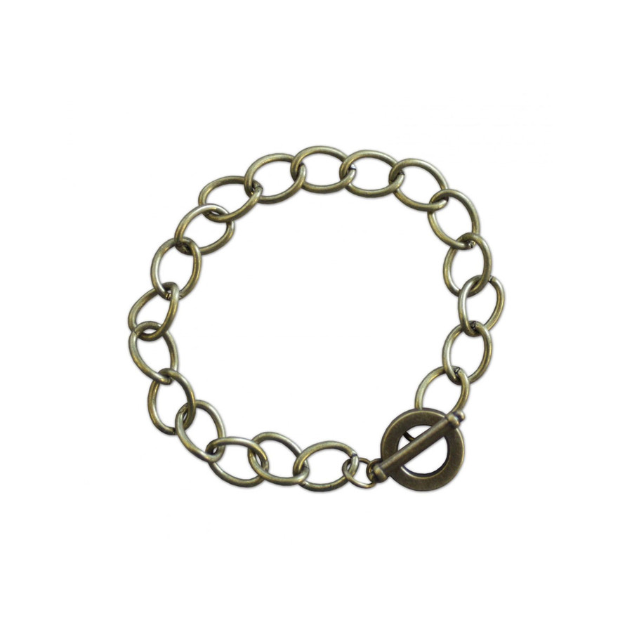 Charm Bracelet with Toggle Clasp 200mm - Antique Brass