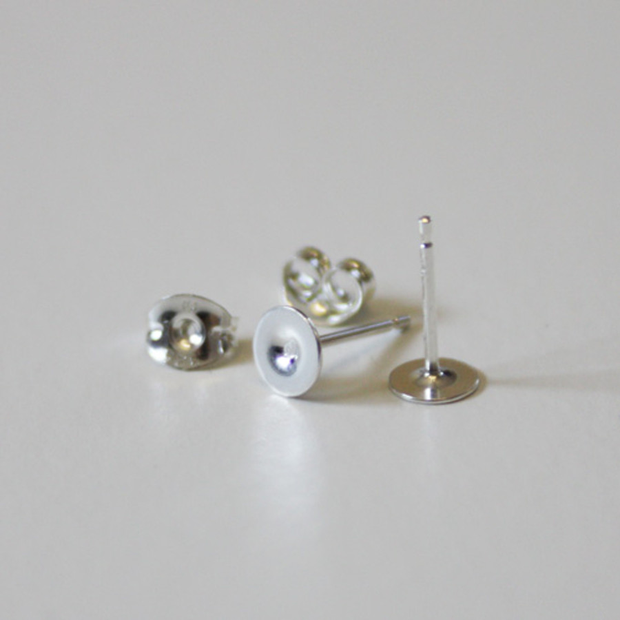 Sterling Silver Ear Post - With Disc & Scrolls - 1 Pair
