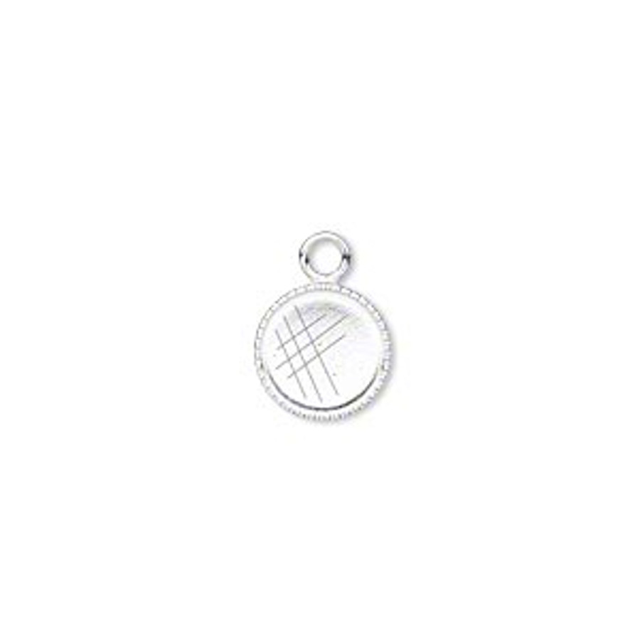 Circle Pendant Bezel - Bright Silver - 8mm