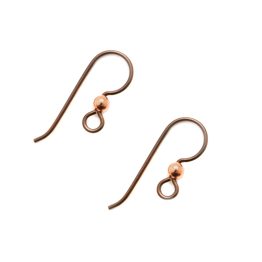 Niobium Earwire Copper 2mm with Copper Bead - 1 Pair