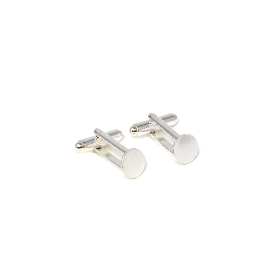 Cufflink with Flat Pad Silver Plated - 9mm Diameter Pad - 1 Pair