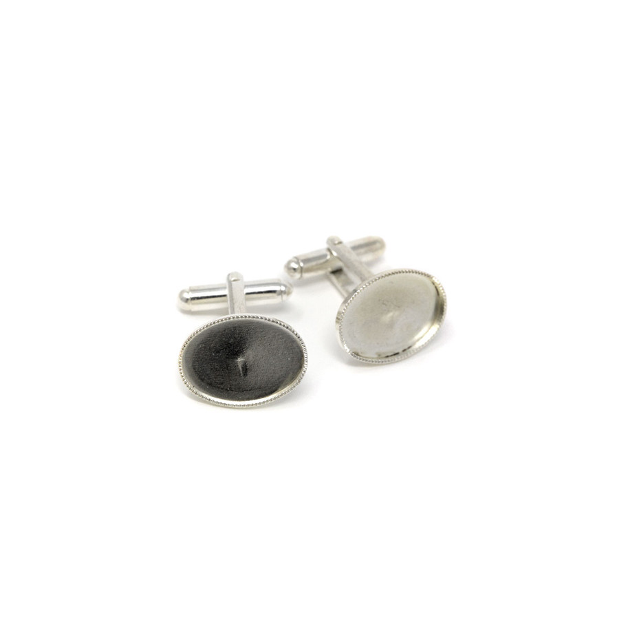 Cufflink with Cup Silver Plated - 13x18mm Oval Cup - 1 Pair