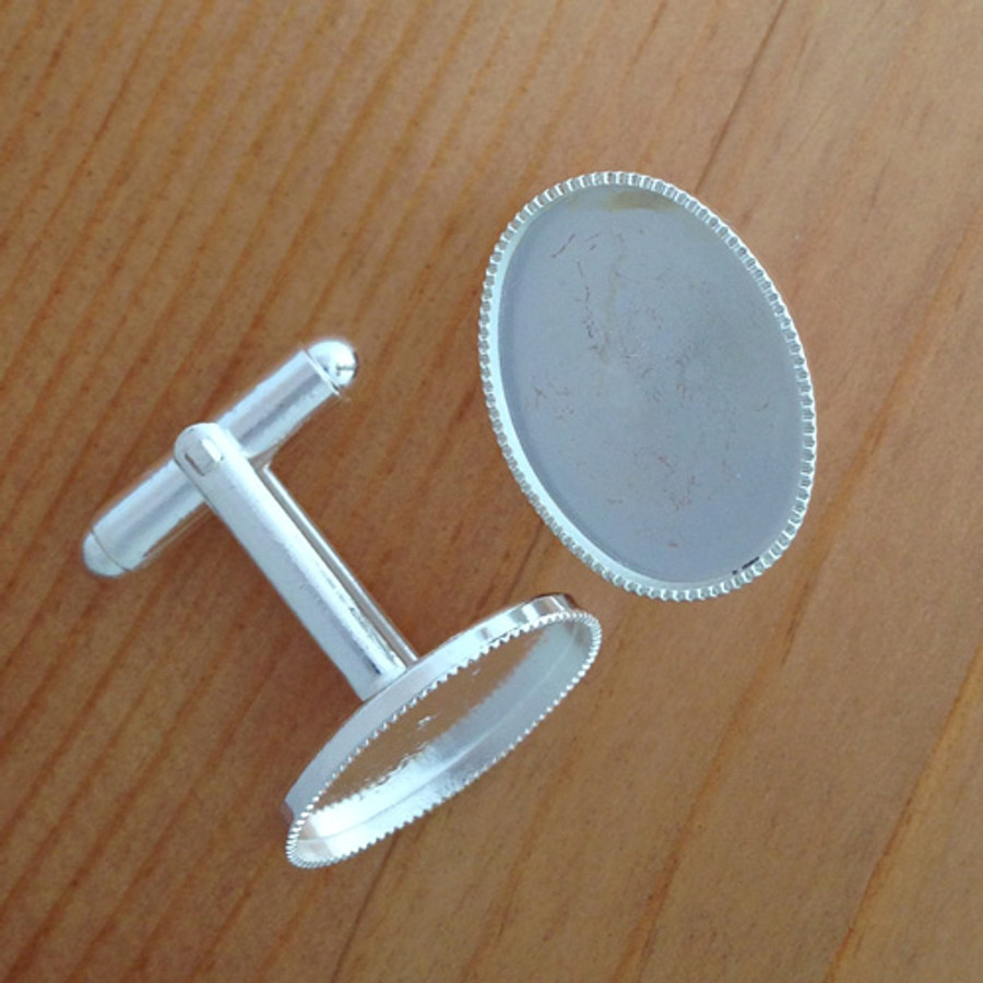 Cufflink silver plated with cup - 13x18mm Oval Cup - 1 Pair