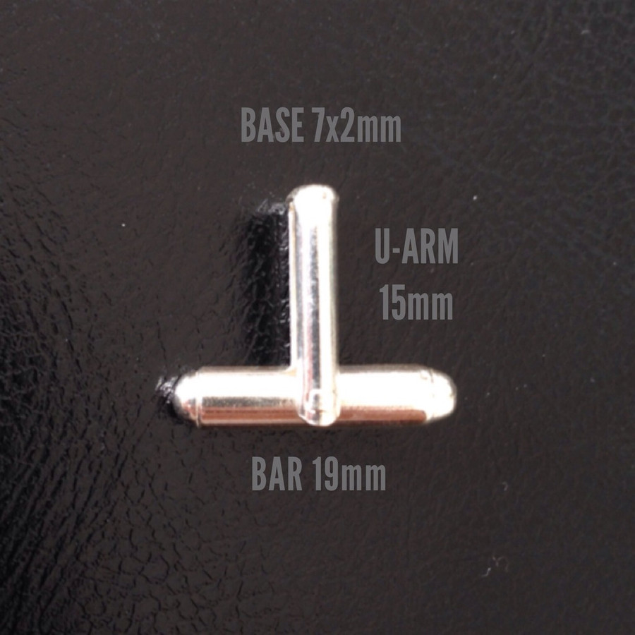 Cufflink Sterling Silver - Round Bar with 'U' Arm - 1 Pair