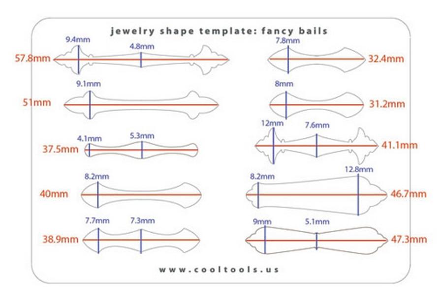 Jewellery shape template - Fancy Bails - Sizes