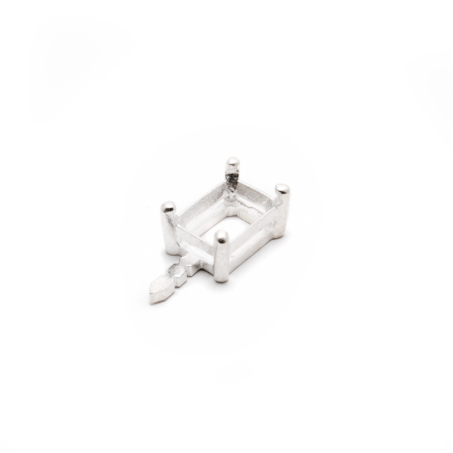 Embeddable Baguette Prong Setting with Post - Silver 7x5mm