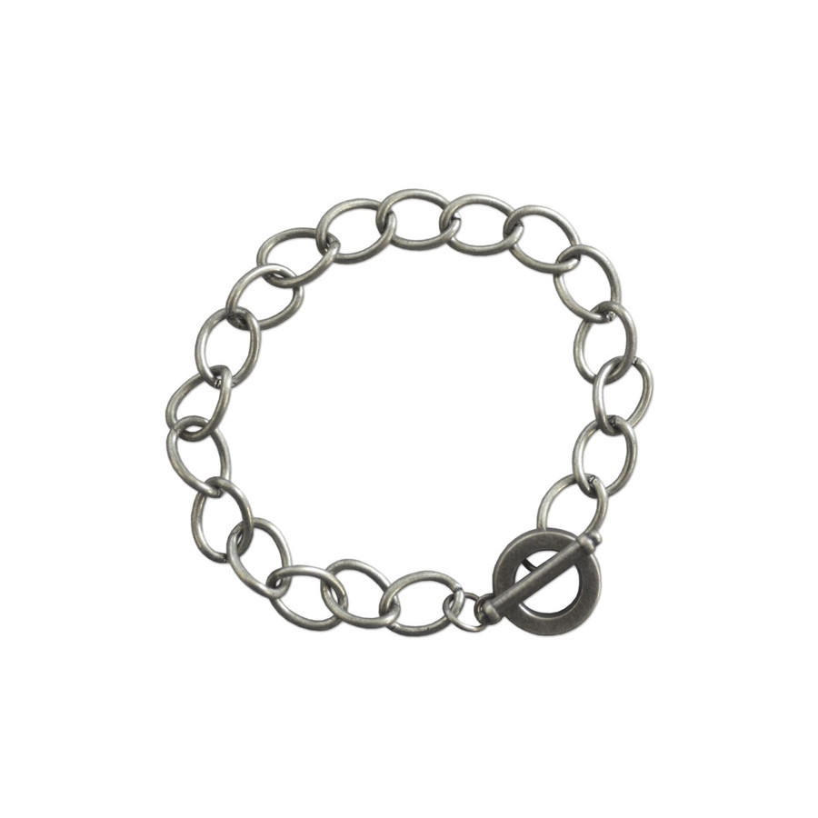 Charm Bracelet with Toggle Clasp - Antique Silver