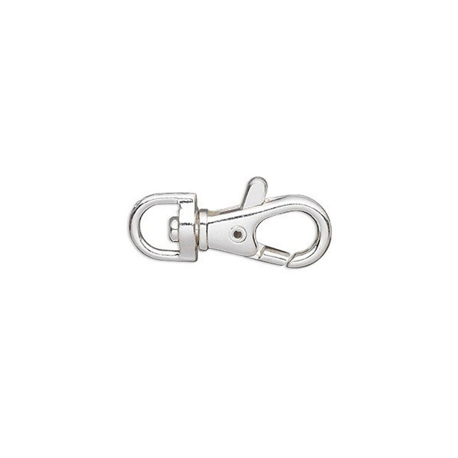 "Clasp, Lobster Keyring - Silver-Plated ""Pewter"" 4 x 2cm - 6 Pack"