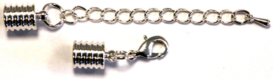 Cord Ends With Clasp & Extension Chain - Silver-Plated Grooved 6mm
