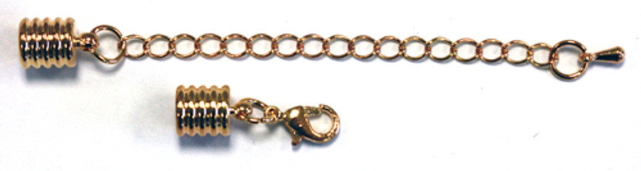 Cord Ends With Clasp & Extension Chain - Gold-Plated Grooved 6mm