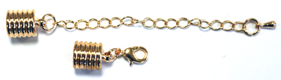 Cord Ends With Clasp & Extension Chain - Gold-Plated Grooved 8mm