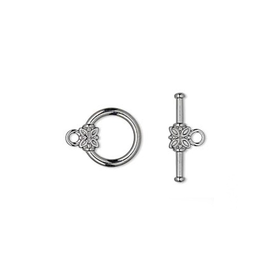 Toggle Clasp With Flower - 14mm Round