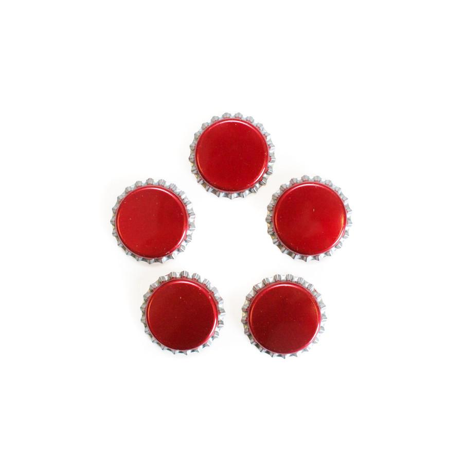Blank Bottle Caps - Red - 5 pk