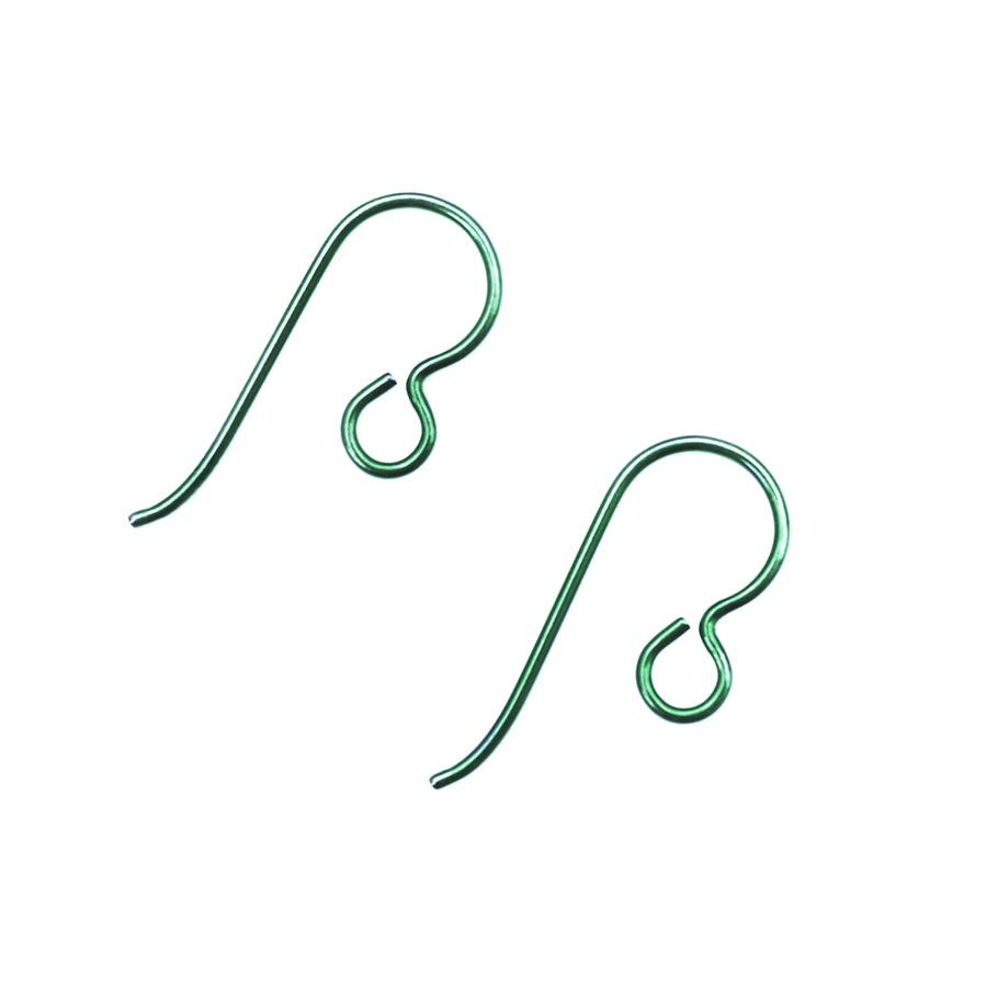 Niobium Earwire With Loop - Green - 1 Pair