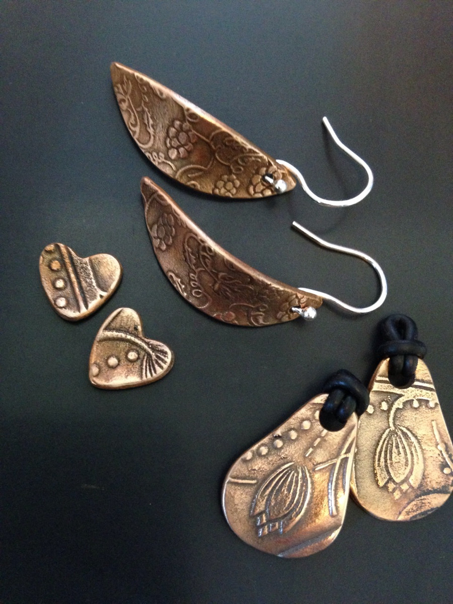 Jewellery made by Fiona Ingram, using this texture (RS0003 Vineyard) and texture RS0016 Floral Dots