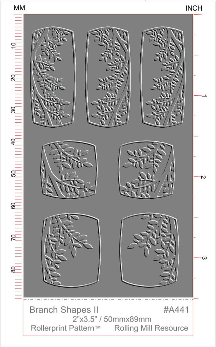 RMR Laser Texture Paper - Branch Shapes II - 50 x 89mm