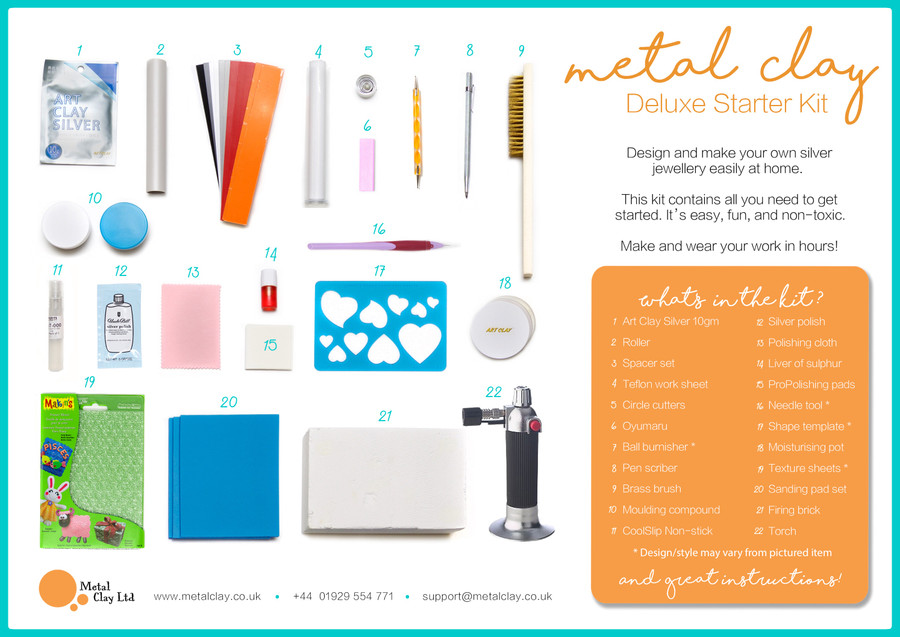 Metal Clay Deluxe Starter Kit Contents - everything to get started with silver clay at home.