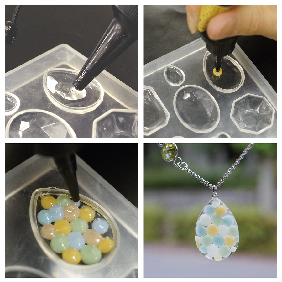 Color Art Resin example in opaque colours and clear UV resin.
