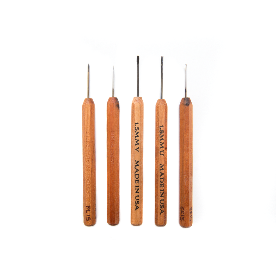 Dockyard Micro Carving Tools - 1.5mm Carving Tool Set of 5