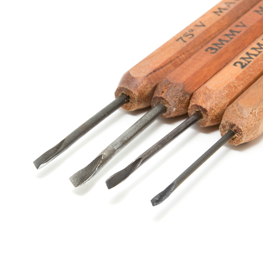 Dockyard Micro Carving Tools - V Carving Tools Set of 4