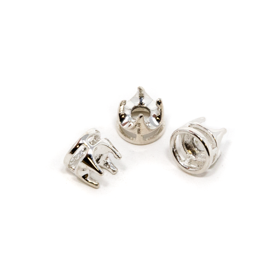Sterling Silver Crown 4-Prong Bezel - 4mm