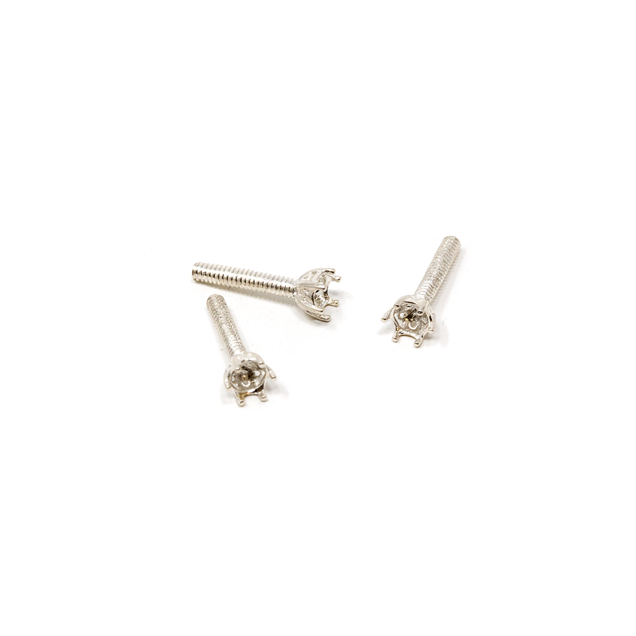 Sterling Silver Crown Embeddable 6-Prong Bezel - 3mm