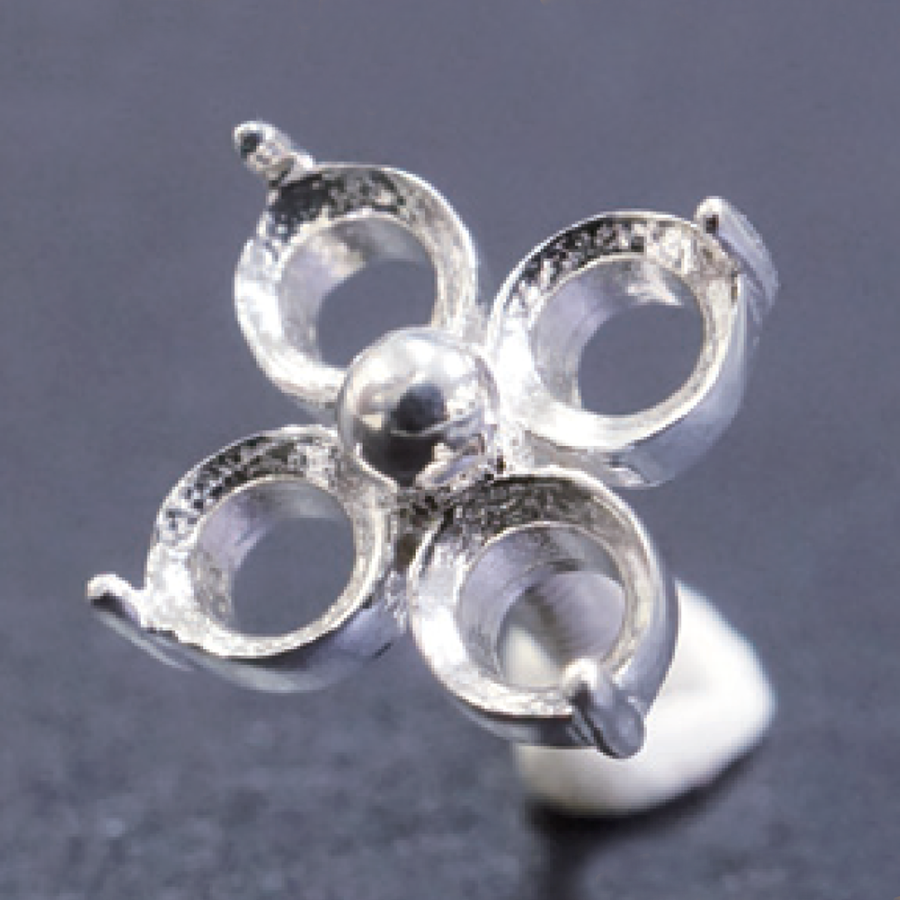 Sterling Silver Flower Prong - CLOVER - 3mm
