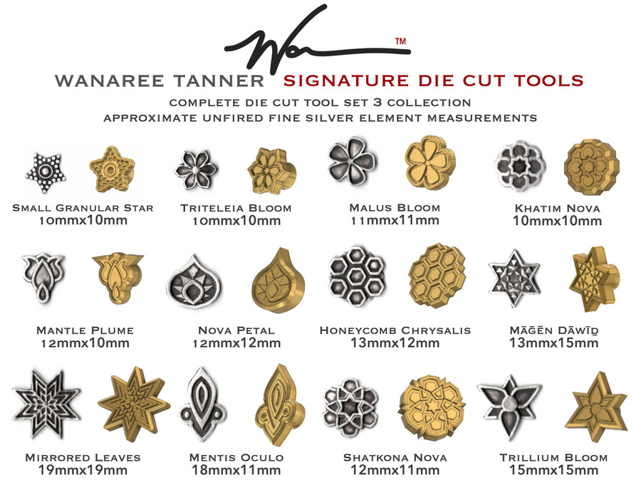 All individual tool heads included in the Die Cut Tool Set 3 - Wanaree Tanner