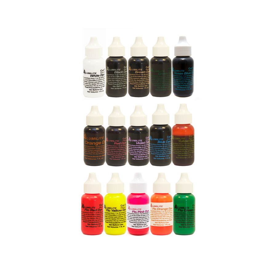 Alumilite Dye Set - 15 colours (excl skin tone colours)