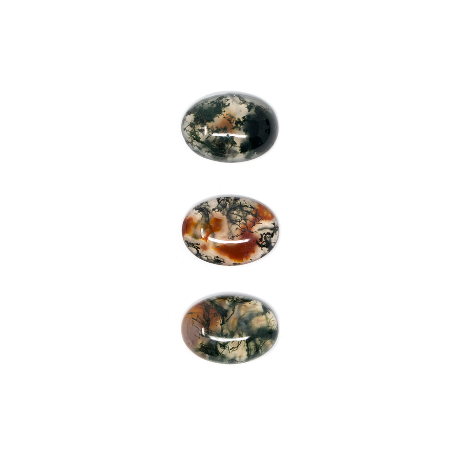 Oval Cabochon - Red Moss Agate - 10x14mm