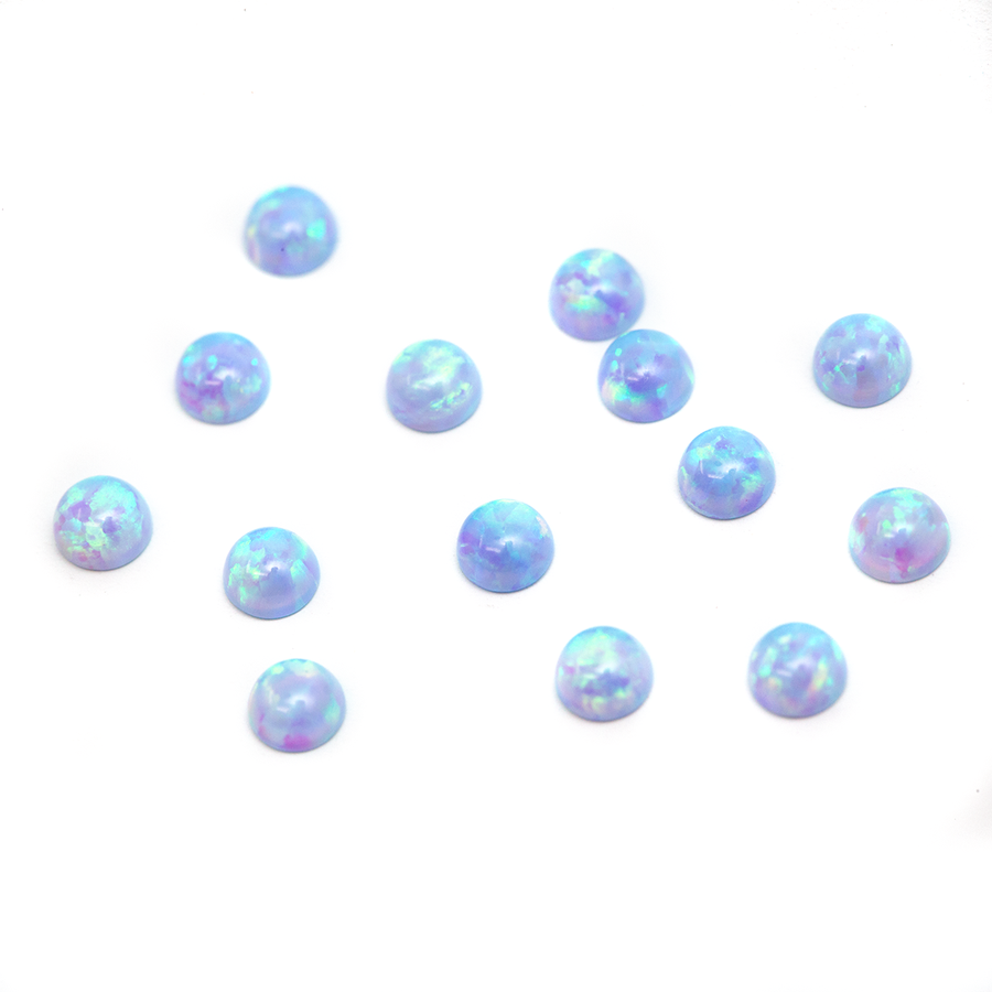 Round Cabochon - Synthetic Opal Blue - 3mm