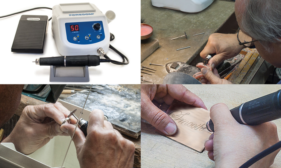 Foredom Brushless Micromotor K.1060.Useful for woodworkers, carvers, metal smiths, jewellers, goldsmiths, and general crafters looking for a serious professional quality tool.
