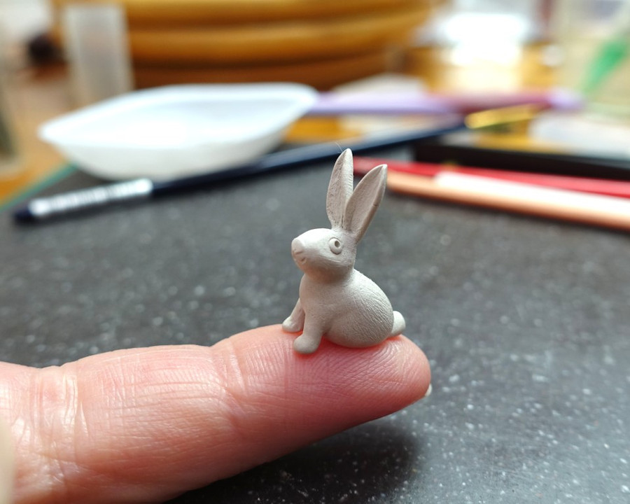 Flowerland Bunny getting ready to be made into a Tiny Treasure Box by Joy Funnell