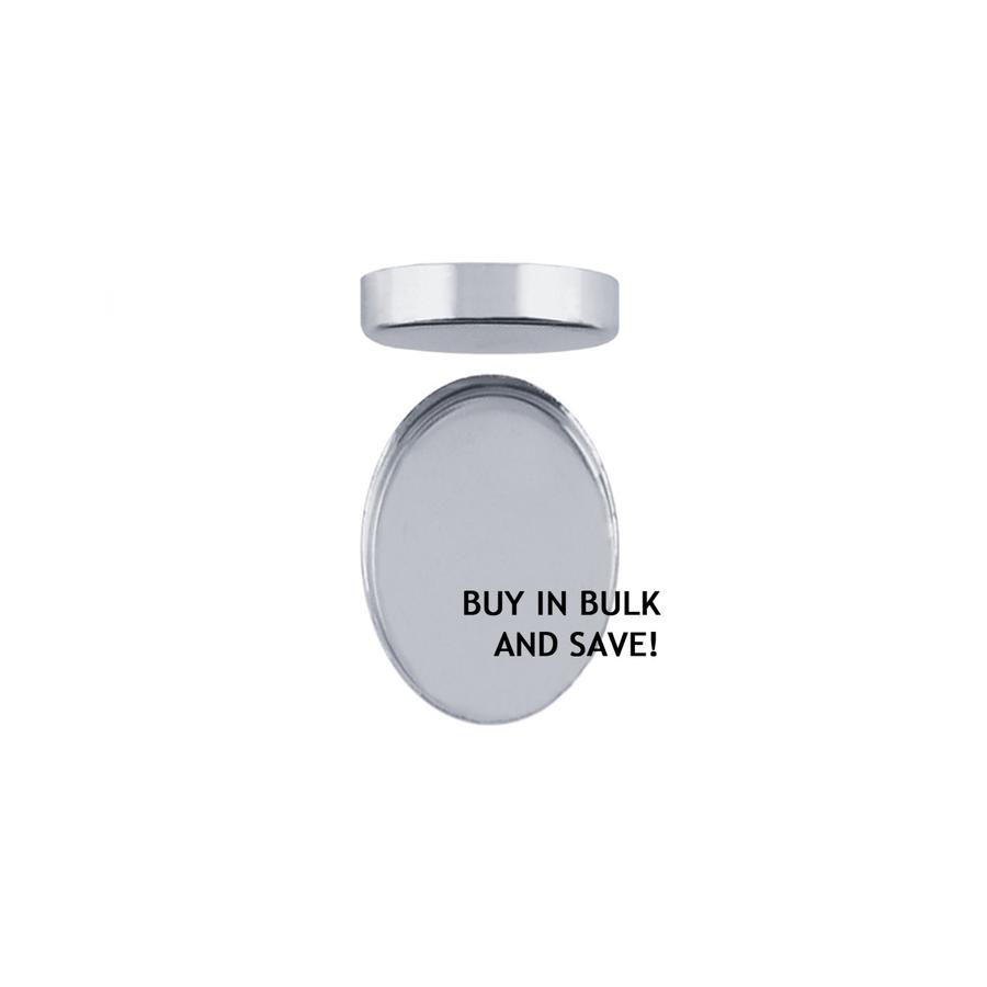 Bezel Cup Plain Oval - Fine Silver - 14x10mm