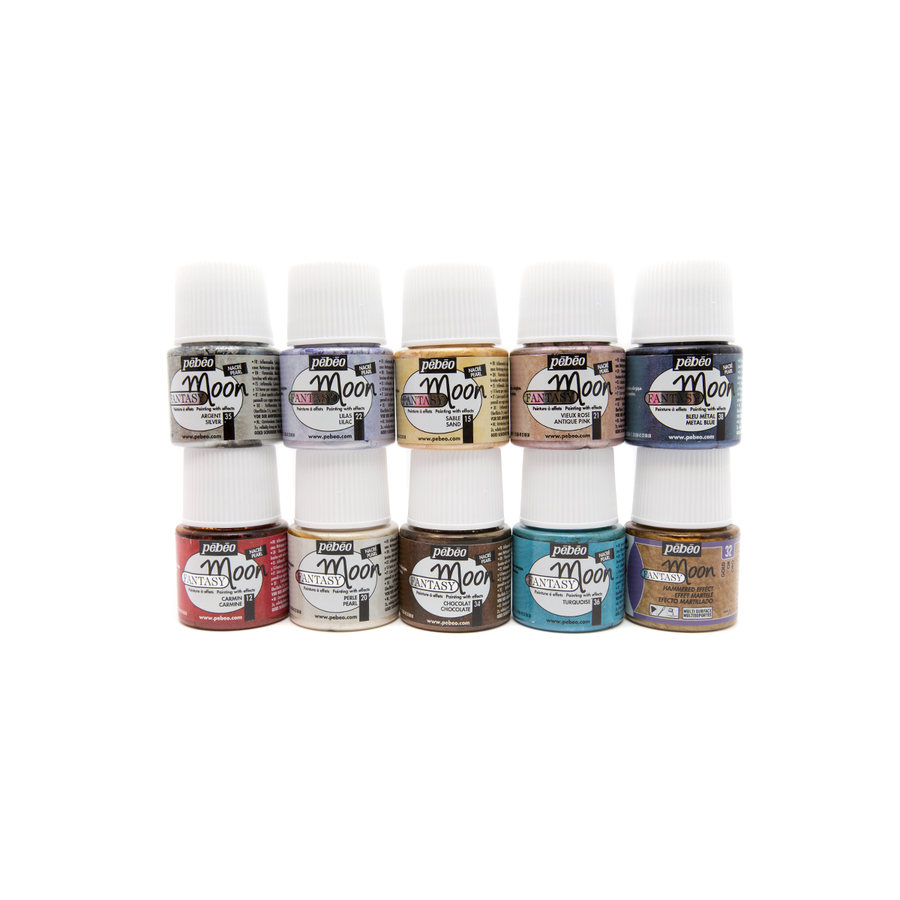 Pebeo Fantasy Paints - Moon - Colour Set of 10 - 45ml LARGE