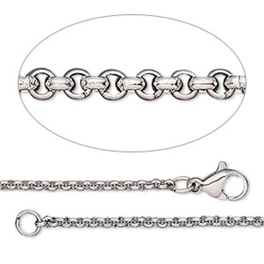 Finished Stainless Steel Rolo Chain - 45cm