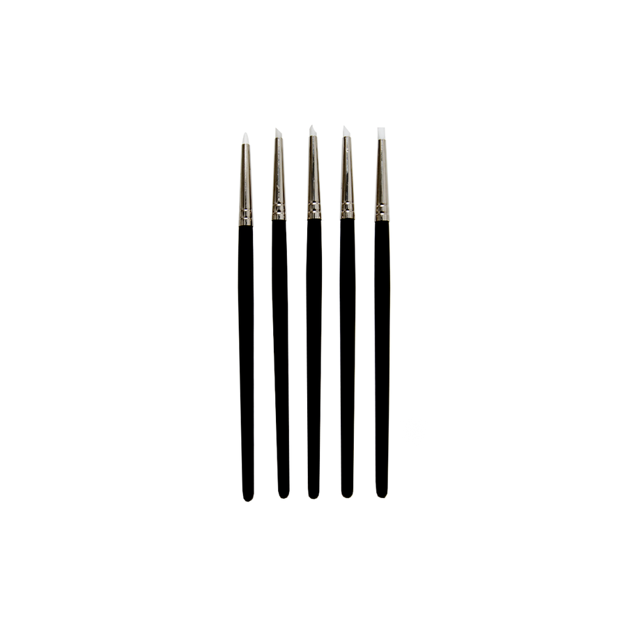 Soft white silicone clay sculpting tools.