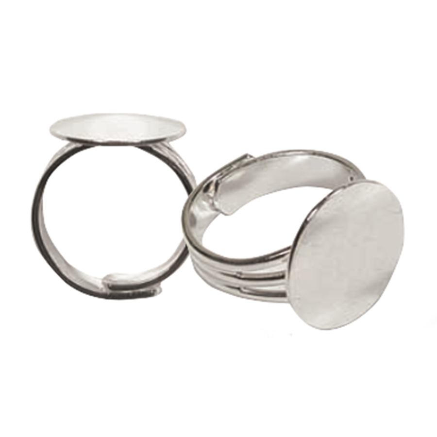 Ring With Mount and Adjustable Band - Antique Silver - 16mm